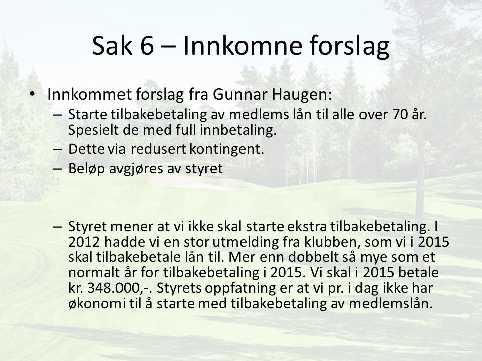 Sak 6 – Innkomne forslag Innkommet forslag fra Gunnar Haugen: – Starte tilbakebetaling av medlems lån til alle over 70 år. Spesielt de med full innbet