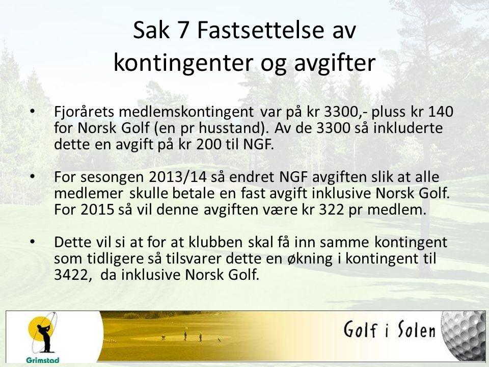 Sak 7 Fastsettelse av kontingenter og avgifter Fjorårets medlemskontingent var på kr 3300,- pluss kr 140 for Norsk Golf (en pr husstand). Av de 3300 s