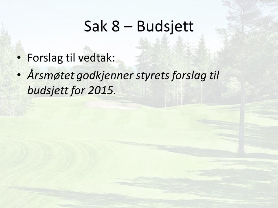 Sak 8 – Budsjett Forslag til vedtak: Årsmøtet godkjenner styrets forslag til budsjett for 2015.