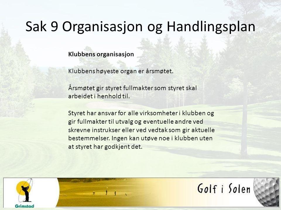 Sak 9 Organisasjon og Handlingsplan Klubbens organisasjon Klubbens høyeste organ er årsmøtet. Årsmøtet gir styret fullmakter som styret skal arbeidet