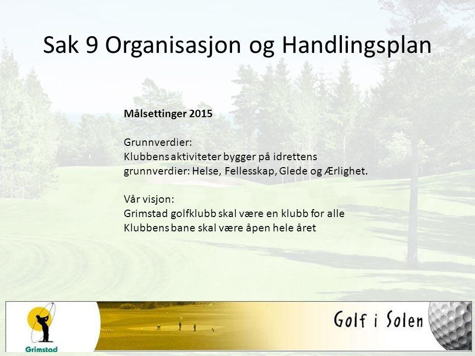Sak 9 Organisasjon og Handlingsplan Målsettinger 2015 Grunnverdier: Klubbens aktiviteter bygger på idrettens grunnverdier: Helse, Fellesskap, Glede og Ærlighet.