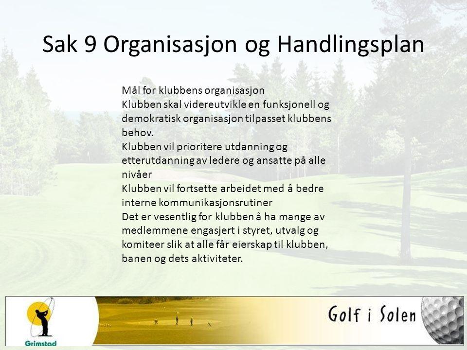 Sak 9 Organisasjon og Handlingsplan Mål for klubbens organisasjon Klubben skal videreutvikle en funksjonell og demokratisk organisasjon tilpasset klub