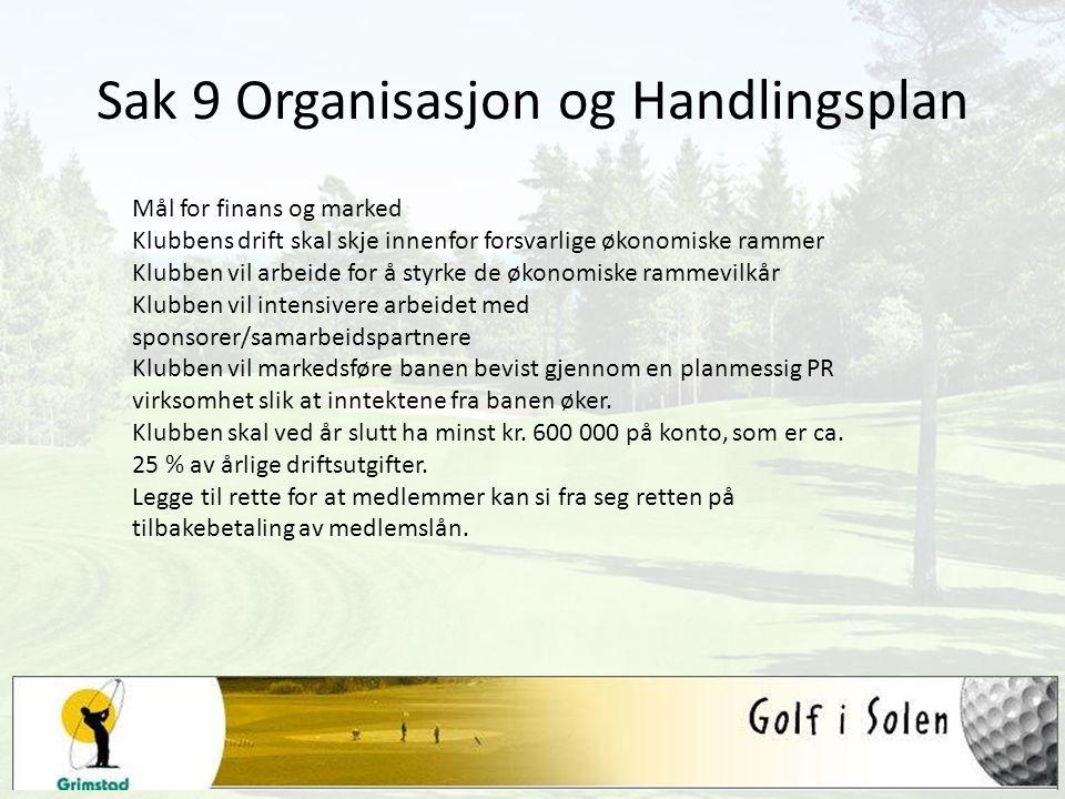 Sak 9 Organisasjon og Handlingsplan Mål for finans og marked Klubbens drift skal skje innenfor forsvarlige økonomiske rammer Klubben vil arbeide for å