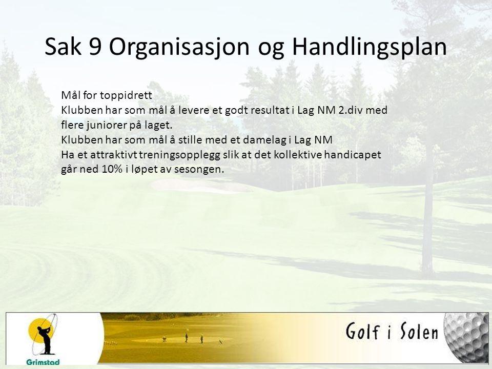 Sak 9 Organisasjon og Handlingsplan Mål for toppidrett Klubben har som mål å levere et godt resultat i Lag NM 2.div med flere juniorer på laget. Klubb