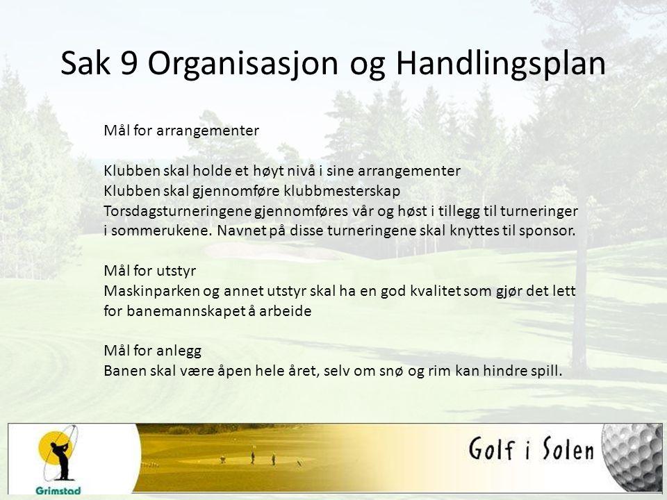Sak 9 Organisasjon og Handlingsplan Mål for arrangementer Klubben skal holde et høyt nivå i sine arrangementer Klubben skal gjennomføre klubbmesterska