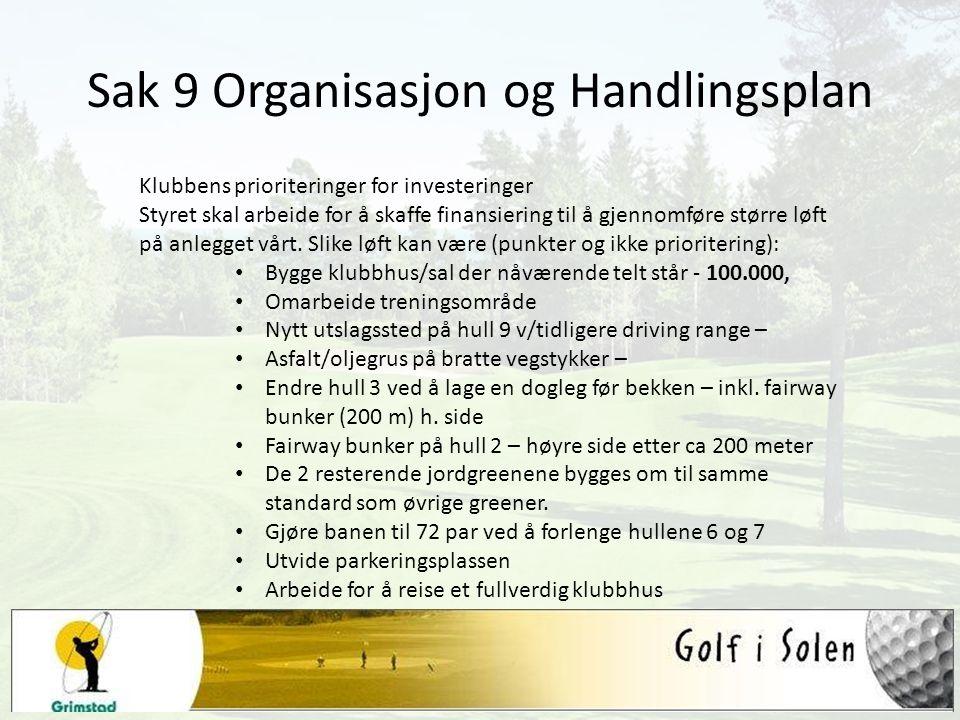Sak 9 Organisasjon og Handlingsplan Klubbens prioriteringer for investeringer Styret skal arbeide for å skaffe finansiering til å gjennomføre større l