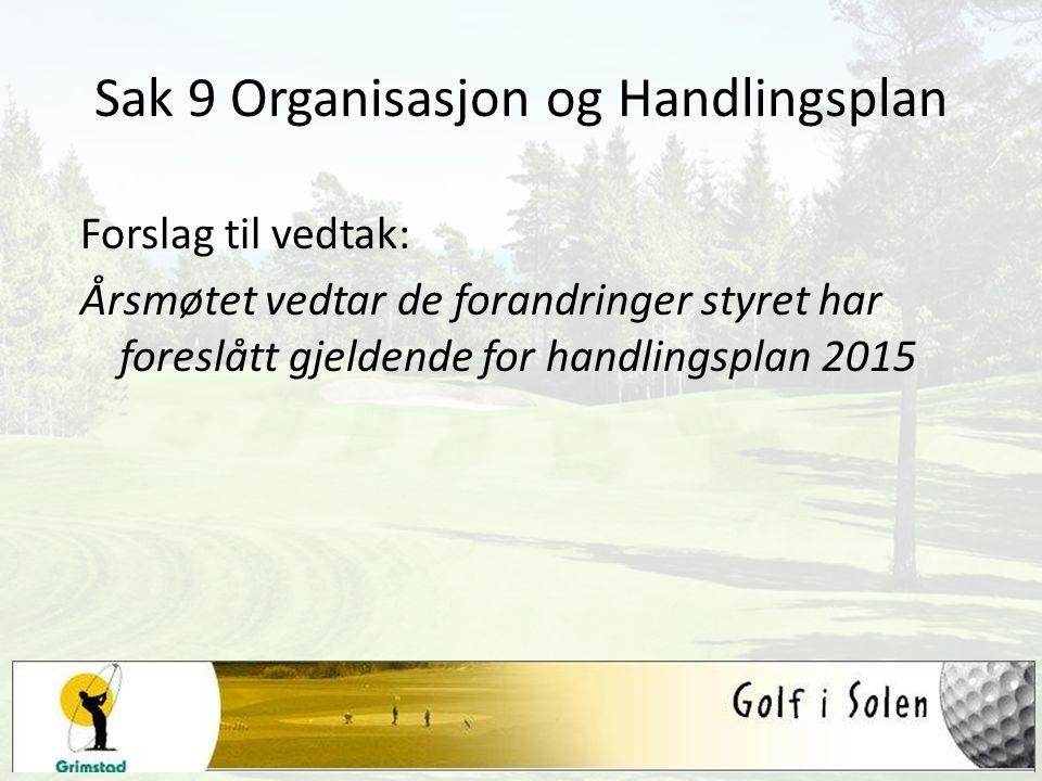 Sak 9 Organisasjon og Handlingsplan Forslag til vedtak: Årsmøtet vedtar de forandringer styret har foreslått gjeldende for handlingsplan 2015