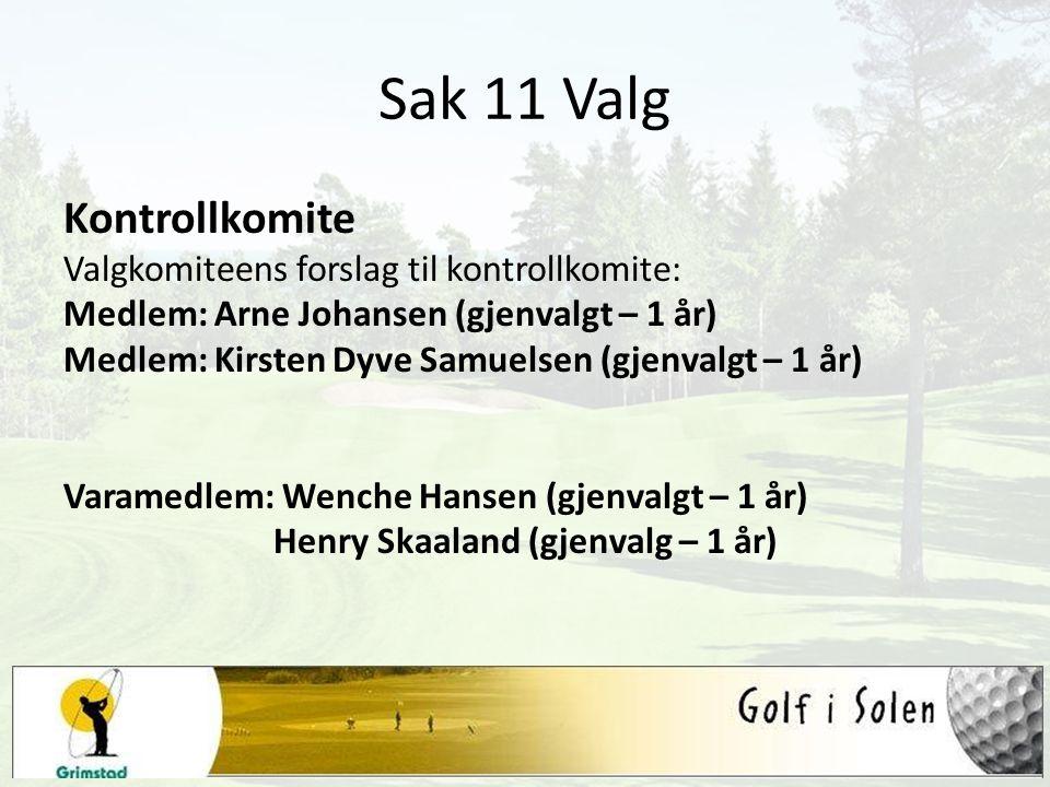 Sak 11 Valg Kontrollkomite Valgkomiteens forslag til kontrollkomite: Medlem: Arne Johansen (gjenvalgt – 1 år) Medlem: Kirsten Dyve Samuelsen (gjenvalg