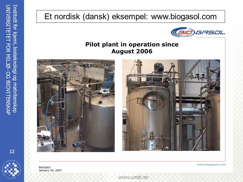 Institutt for kjemi, bioteknologi og matvitenskap 12 UNIVERSITETET FOR MILJØ- OG BIOVITENSKAP www.umb.no Et nordisk (dansk) eksempel: www.biogasol.com