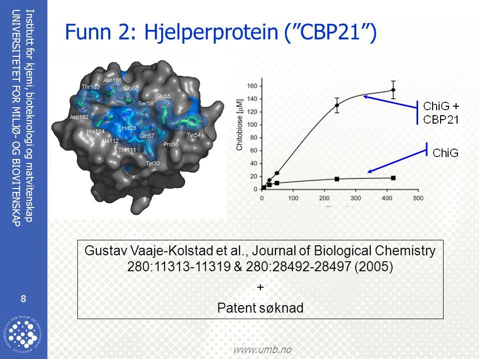 Institutt for kjemi, bioteknologi og matvitenskap 8 UNIVERSITETET FOR MILJØ- OG BIOVITENSKAP www.umb.no Funn 2: Hjelperprotein ( CBP21 ) Gustav Vaaje-Kolstad et al., Journal of Biological Chemistry 280:11313-11319 & 280:28492-28497 (2005) + Patent søknad