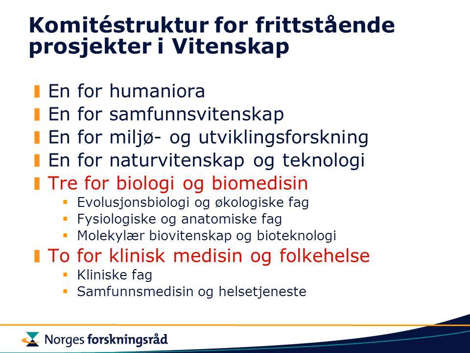 Komitéstruktur for frittstående prosjekter i Vitenskap En for humaniora En for samfunnsvitenskap En for miljø- og utviklingsforskning En for naturvite