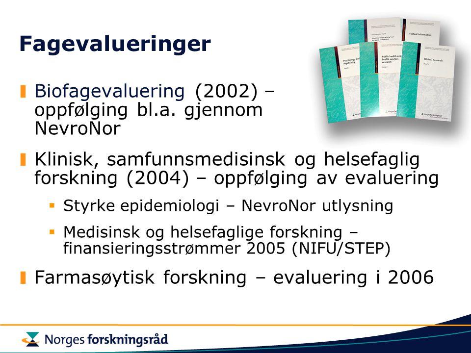 Fagevalueringer Biofagevaluering (2002) – oppfølging bl.a. gjennom NevroNor Klinisk, samfunnsmedisinsk og helsefaglig forskning (2004) – oppfølging av