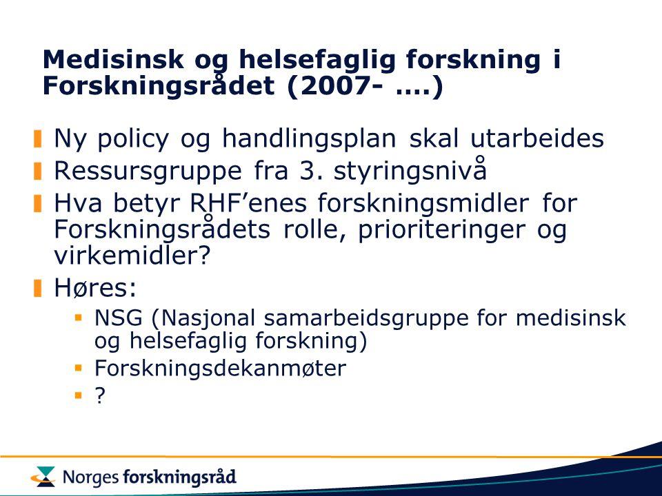 Medisinsk og helsefaglig forskning i Forskningsrådet (2007- ….) Ny policy og handlingsplan skal utarbeides Ressursgruppe fra 3.