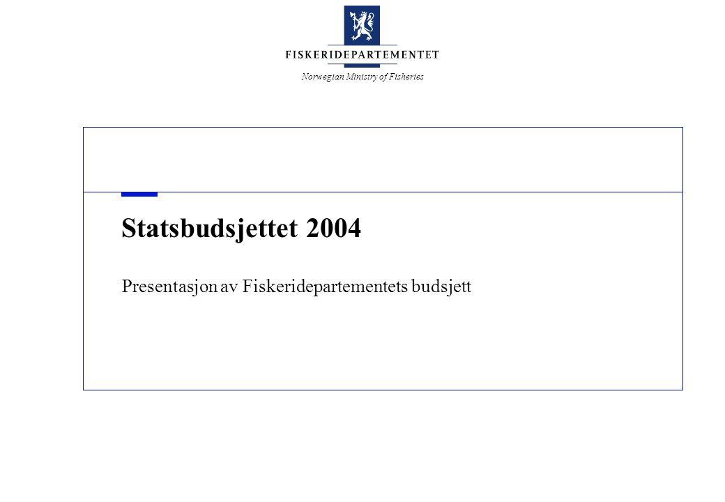Norwegian Ministry of Fisheries Verdier fra havet - Norges framtid Oppsummering - mer målrettet forskningsinnsats – Samlet bevilgning på 910,5 mill.