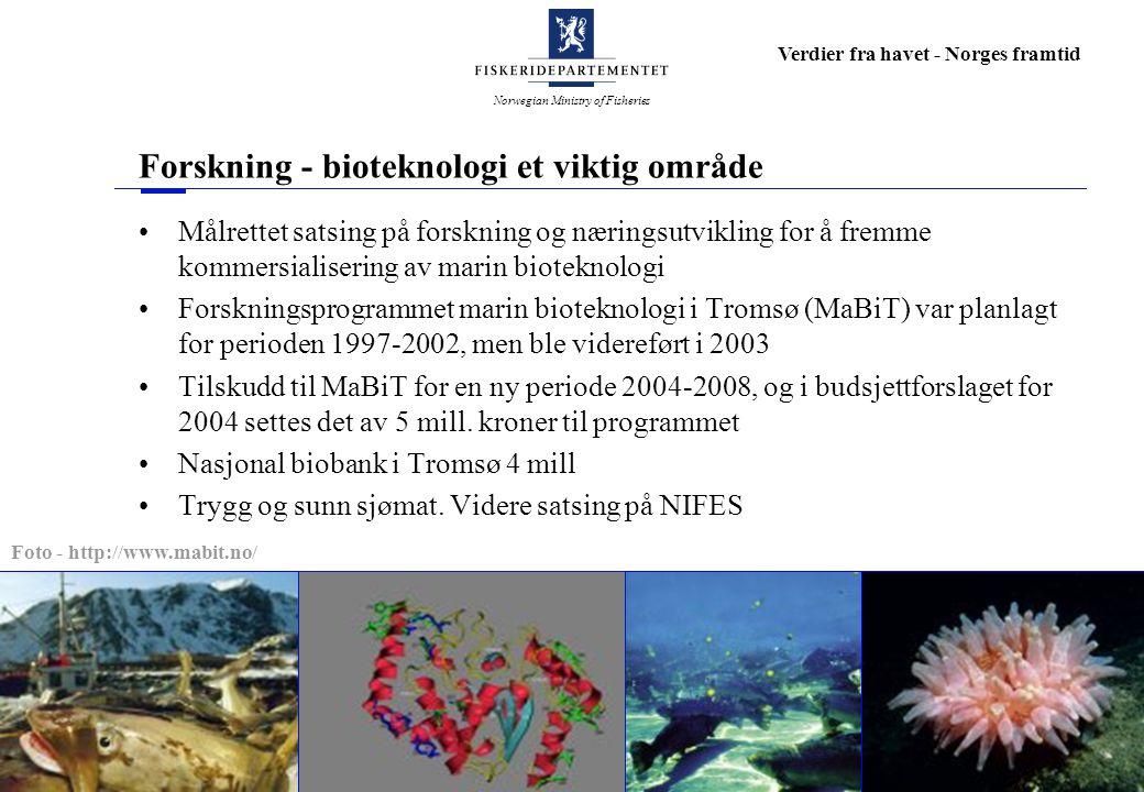 Norwegian Ministry of Fisheries Verdier fra havet - Norges framtid Forskning - bioteknologi et viktig område Målrettet satsing på forskning og næringsutvikling for å fremme kommersialisering av marin bioteknologi Forskningsprogrammet marin bioteknologi i Tromsø (MaBiT) var planlagt for perioden 1997-2002, men ble videreført i 2003 Tilskudd til MaBiT for en ny periode 2004-2008, og i budsjettforslaget for 2004 settes det av 5 mill.