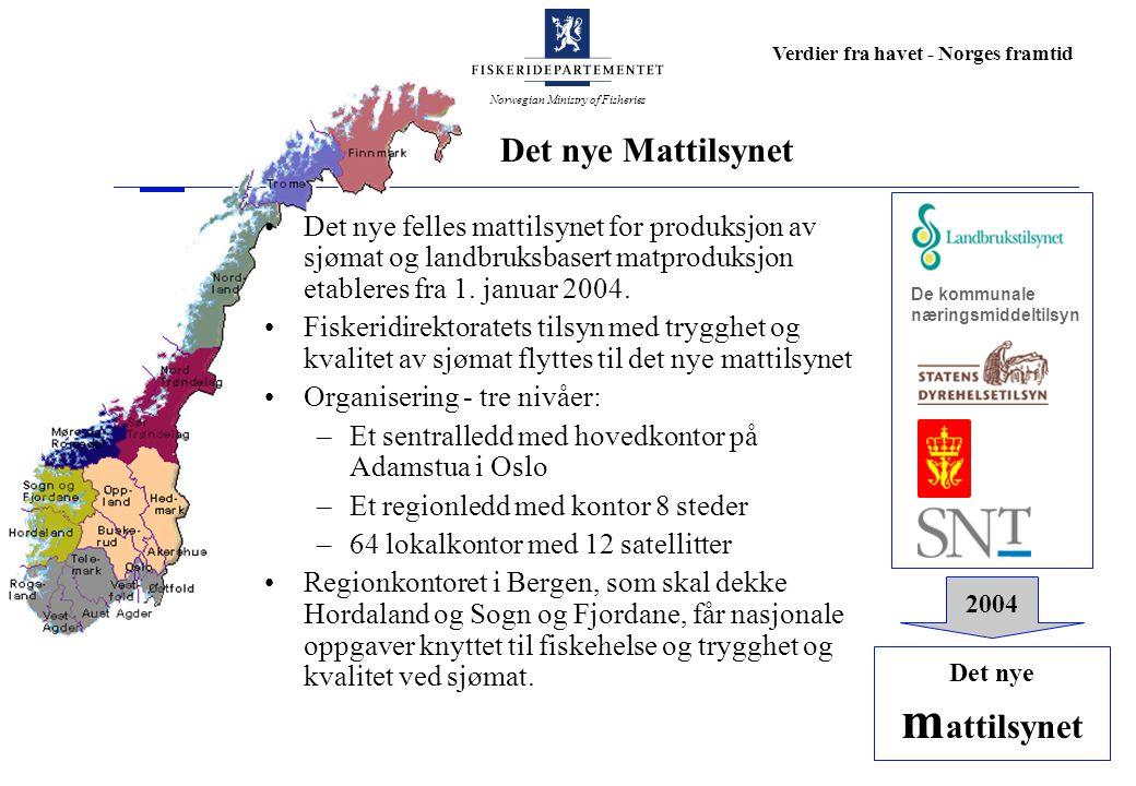 Norwegian Ministry of Fisheries Verdier fra havet - Norges framtid Bevilgningene til kystkultur videreført Fiskeridepartementet vil i 2004 arbeide videre med å utvikle en strategi for å ivareta sin del av ansvaret for kystkulturen.