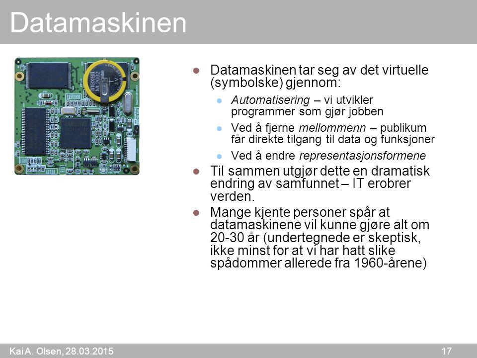 Kai A. Olsen, 28.03.2015 17 Datamaskinen Datamaskinen tar seg av det virtuelle (symbolske) gjennom: Automatisering – vi utvikler programmer som gjør j