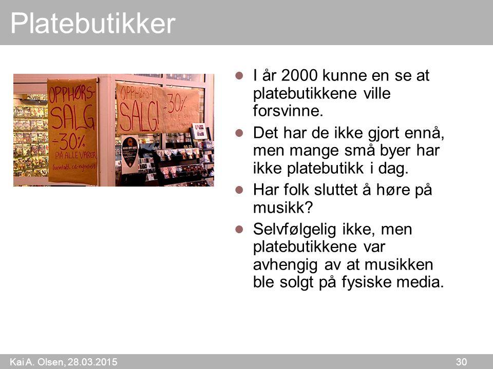 Kai A. Olsen, 28.03.2015 30 Platebutikker I år 2000 kunne en se at platebutikkene ville forsvinne. Det har de ikke gjort ennå, men mange små byer har