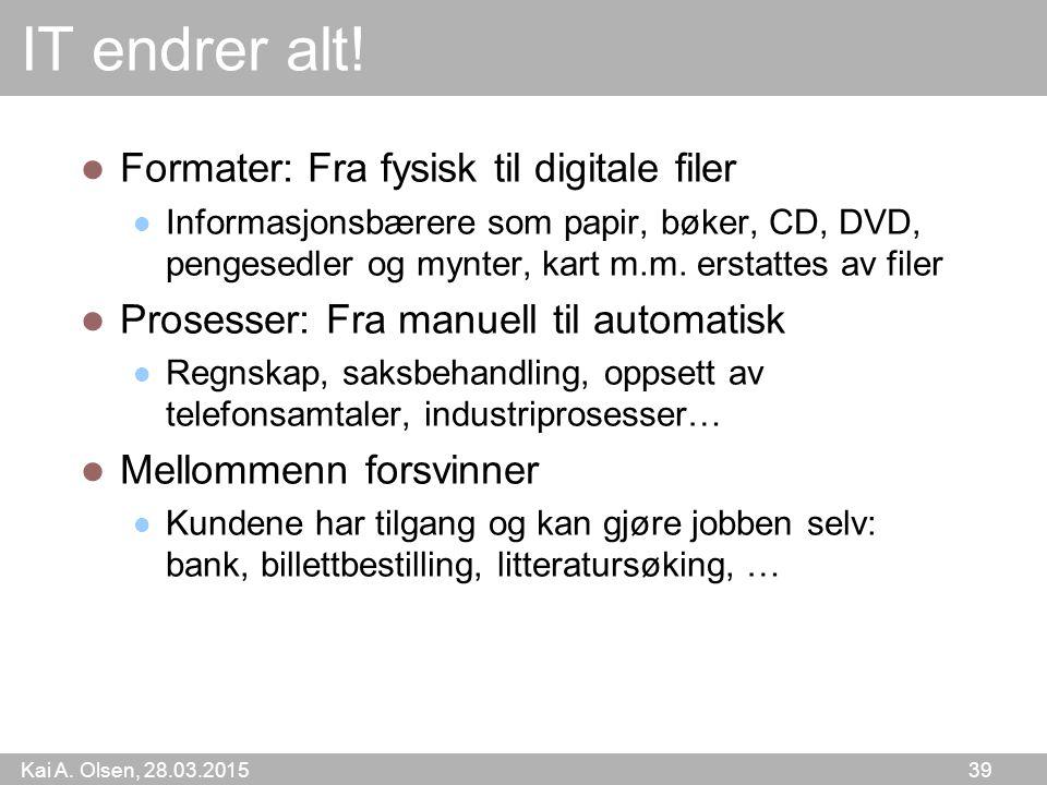 Kai A. Olsen, 28.03.2015 39 IT endrer alt! Formater: Fra fysisk til digitale filer Informasjonsbærere som papir, bøker, CD, DVD, pengesedler og mynter