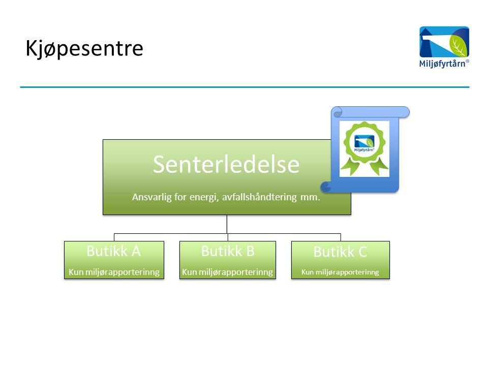 Kjøpesentre Senterledelse Ansvarlig for energi, avfallshåndtering mm.