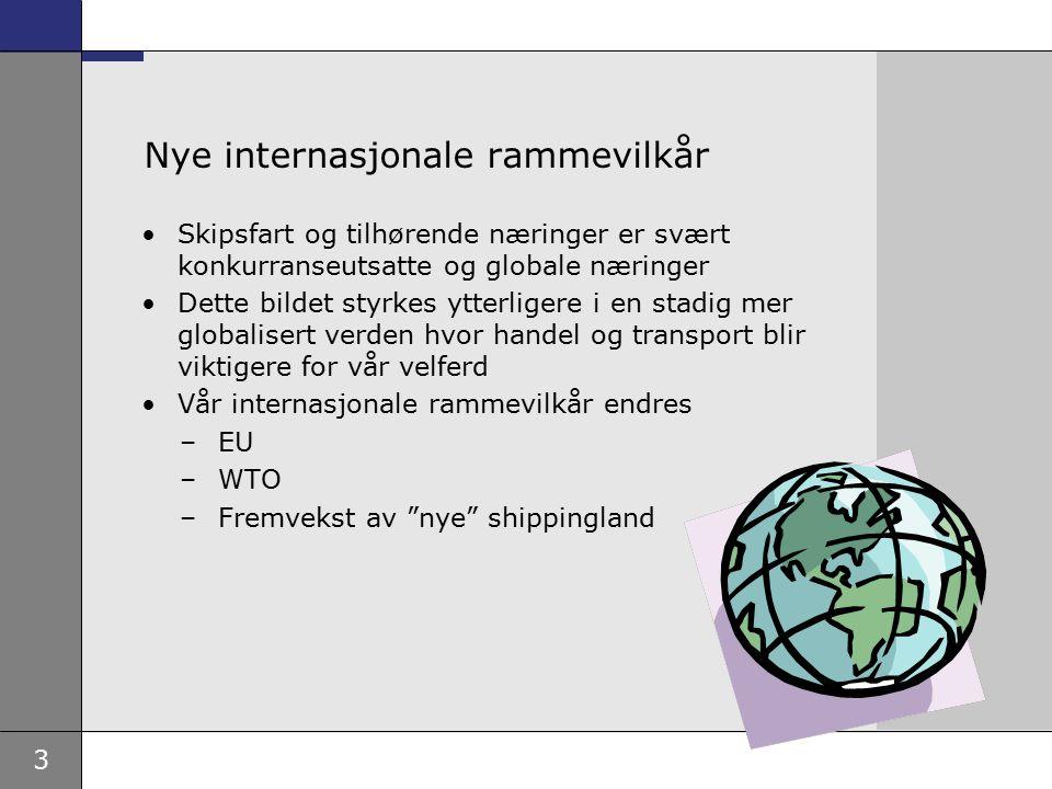 3 Nye internasjonale rammevilkår Skipsfart og tilhørende næringer er svært konkurranseutsatte og globale næringer Dette bildet styrkes ytterligere i en stadig mer globalisert verden hvor handel og transport blir viktigere for vår velferd Vår internasjonale rammevilkår endres –EU –WTO –Fremvekst av nye shippingland