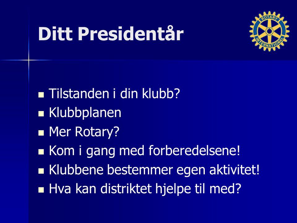 Ditt Presidentår Tilstanden i din klubb. Klubbplanen Mer Rotary.
