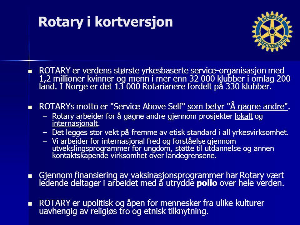 Rotary i kortversjon ROTARY er verdens største yrkesbaserte service-organisasjon med 1,2 millioner kvinner og menn i mer enn 32 000 klubber i omlag 200 land.