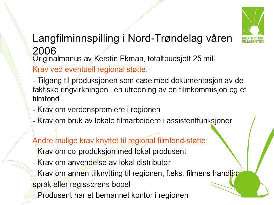 Langfilminnspilling i Nord-Trøndelag våren 2006 Originalmanus av Kerstin Ekman, totaltbudsjett 25 mill Krav ved eventuell regional støtte: - Tilgang t