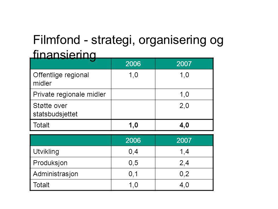 20062007 Offentlige regional midler 1,0 Private regionale midler1,0 Støtte over statsbudsjettet 2,0 Totalt1,04,0 20062007 Utvikling0,41,4 Produksjon0,52,4 Administrasjon0,10,2 Totalt1,04,0 Filmfond - strategi, organisering og finansiering