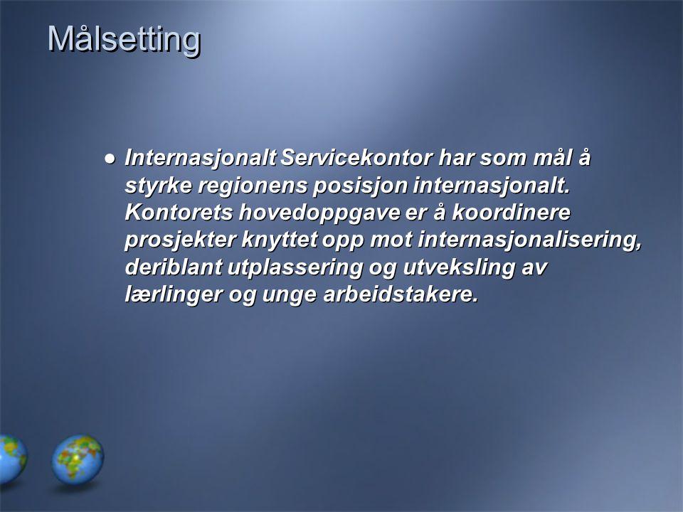 Målsetting ●Internasjonalt Servicekontor har som mål å styrke regionens posisjon internasjonalt. Kontorets hovedoppgave er å koordinere prosjekter kny