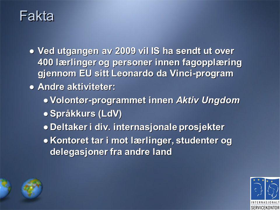Fakta ●Ved utgangen av 2009 vil IS ha sendt ut over 400 lærlinger og personer innen fagopplæring gjennom EU sitt Leonardo da Vinci-program ●Andre akti