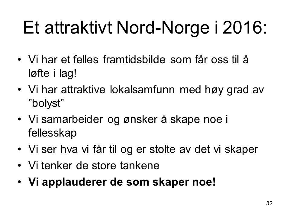 32 Sameksistens Foto: Fjord Norge/Statoil/Opplysningskontoret for fisk Et attraktivt Nord-Norge i 2016: Vi har et felles framtidsbilde som får oss til å løfte i lag.