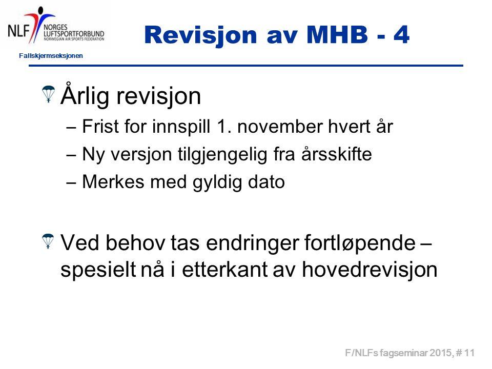 Fallskjermseksjonen F/NLFs fagseminar 2015, # 11 Revisjon av MHB - 4 Årlig revisjon –Frist for innspill 1.