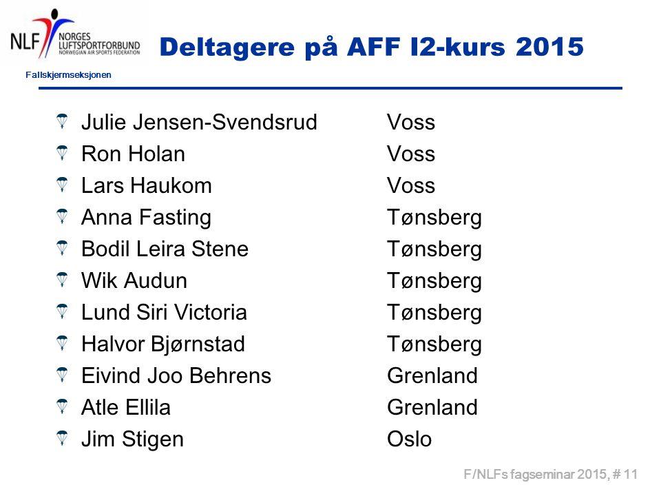 Fallskjermseksjonen F/NLFs fagseminar 2015, # 11 Deltagere på AFF I2-kurs 2015 Julie Jensen-SvendsrudVoss Ron HolanVoss Lars HaukomVoss Anna FastingTø