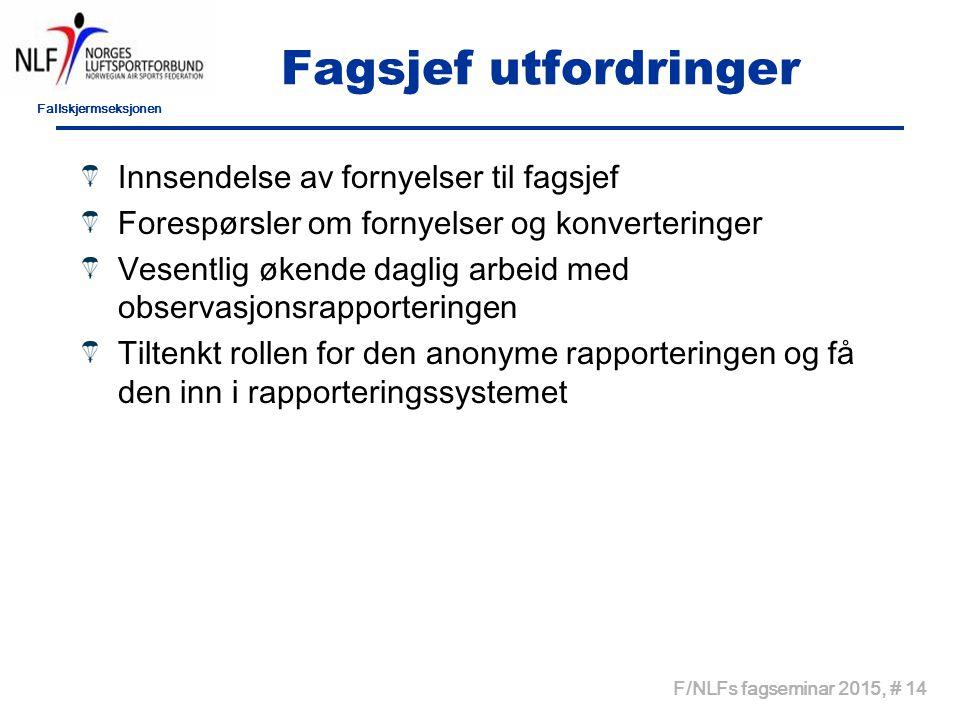 Fallskjermseksjonen F/NLFs fagseminar 2015, # 14 Fagsjef utfordringer Innsendelse av fornyelser til fagsjef Forespørsler om fornyelser og konvertering