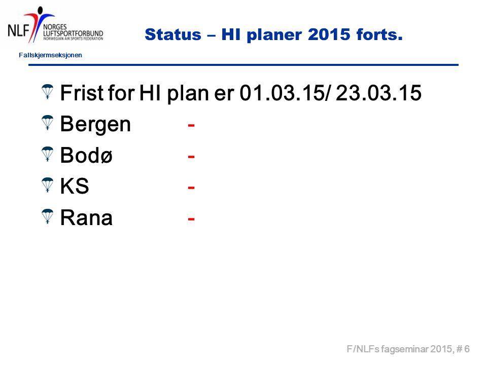 Fallskjermseksjonen F/NLFs fagseminar 2015, # 6 Status – HI planer 2015 forts. Frist for HI plan er 01.03.15/ 23.03.15 Bergen- Bodø - KS- Rana-