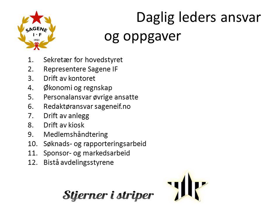 Daglig leders ansvar og oppgaver 1.Sekretær for hovedstyret 2.Representere Sagene IF 3.Drift av kontoret 4.Økonomi og regnskap 5.Personalansvar øvrige