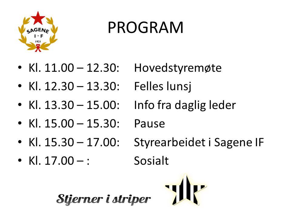 PROGRAM Kl. 11.00 – 12.30:Hovedstyremøte Kl. 12.30 – 13.30: Felles lunsj Kl. 13.30 – 15.00: Info fra daglig leder Kl. 15.00 – 15.30: Pause Kl. 15.30 –