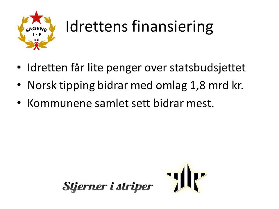Idrettens finansiering Idretten får lite penger over statsbudsjettet Norsk tipping bidrar med omlag 1,8 mrd kr. Kommunene samlet sett bidrar mest.