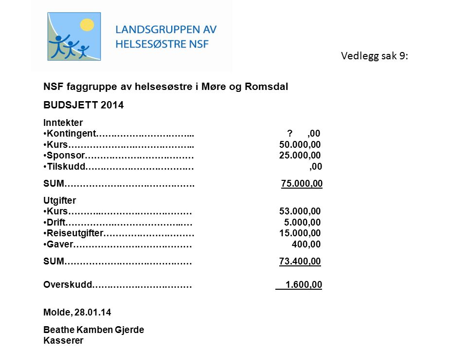 NSF faggruppe av helsesøstre i Møre og Romsdal BUDSJETT 2014 Inntekter Kontingent…………………………... ?,00 Kurs………………….……………….. 50.000,00 Sponsor………………………………