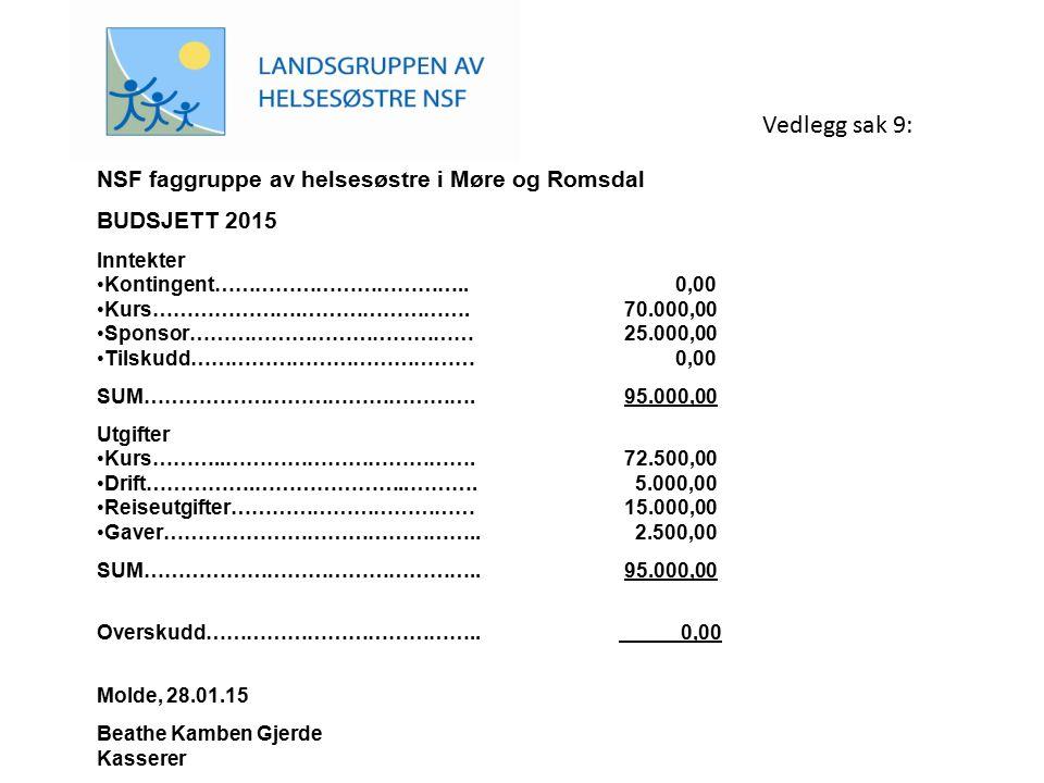 NSF faggruppe av helsesøstre i Møre og Romsdal BUDSJETT 2015 Inntekter Kontingent……………………………….. 0,00 Kurs………………….……………………. 70.000,00 Sponsor…………………………