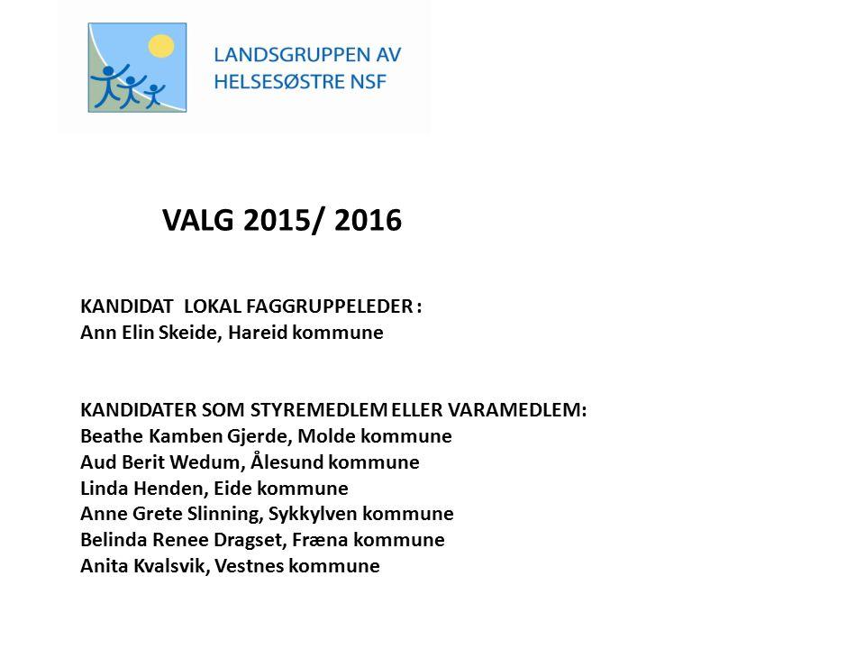 VALG 2015/ 2016 KANDIDAT LOKAL FAGGRUPPELEDER : Ann Elin Skeide, Hareid kommune KANDIDATER SOM STYREMEDLEM ELLER VARAMEDLEM: Beathe Kamben Gjerde, Mol