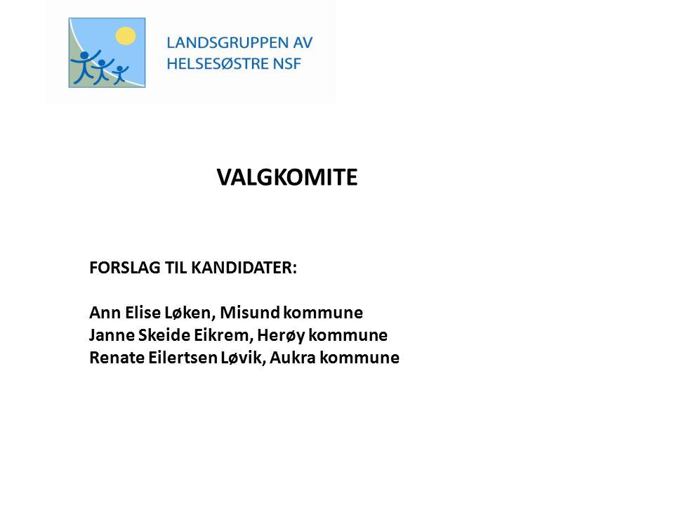 VALGKOMITE FORSLAG TIL KANDIDATER: Ann Elise Løken, Misund kommune Janne Skeide Eikrem, Herøy kommune Renate Eilertsen Løvik, Aukra kommune