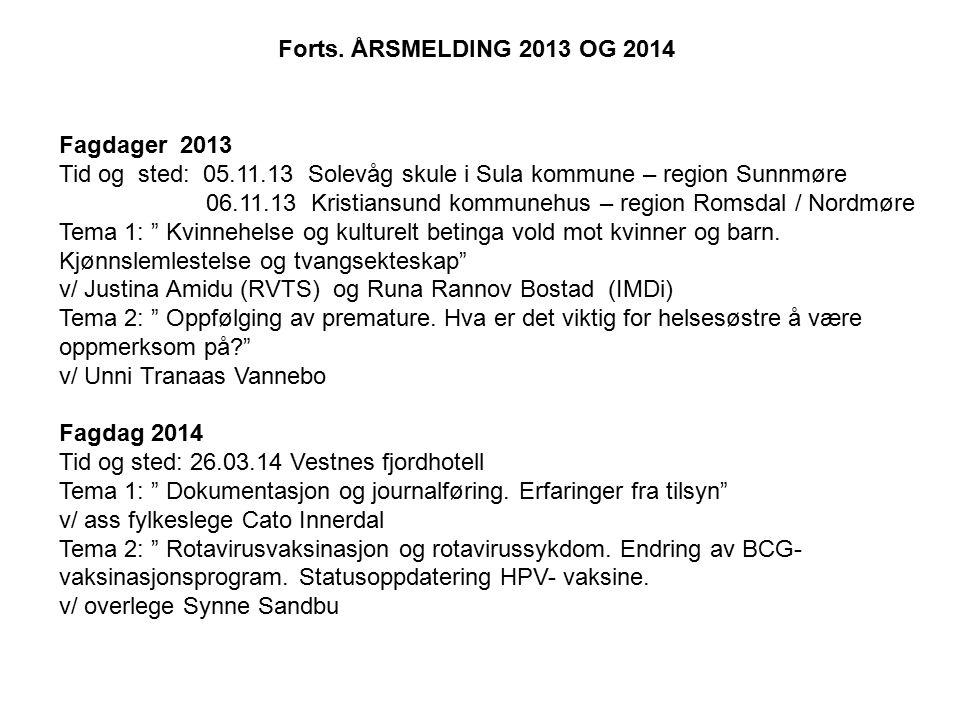 Nettverk for ledende helsesøstre i Møre og Romsdal Sunnmøre + Vestnes har hatt to møter i 2013 og ett møte i 2014.