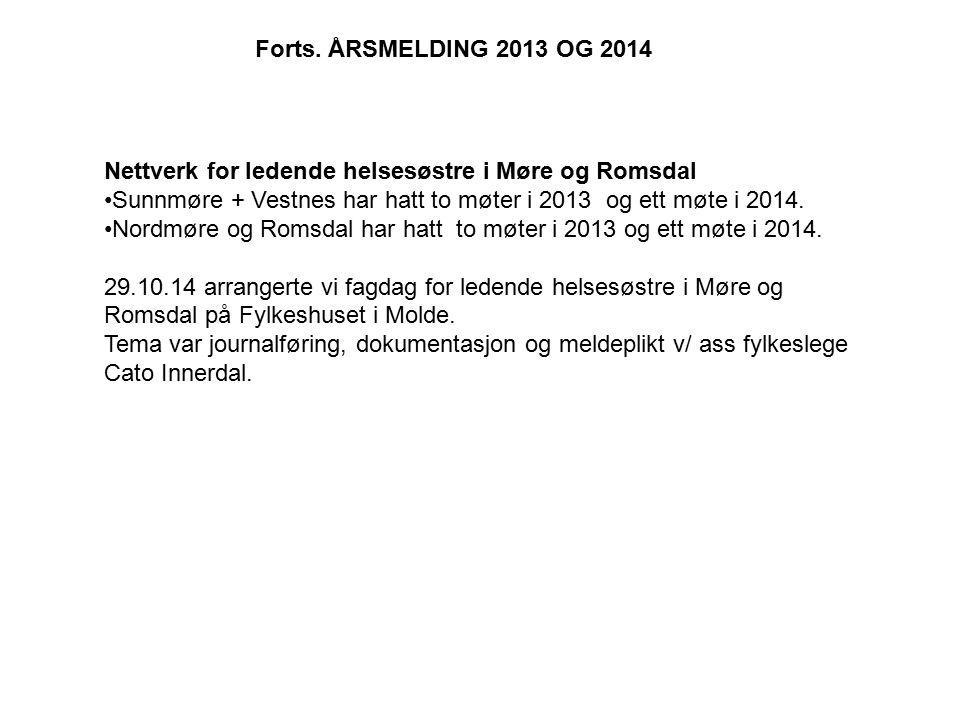 Nettverk for ledende helsesøstre i Møre og Romsdal Sunnmøre + Vestnes har hatt to møter i 2013 og ett møte i 2014. Nordmøre og Romsdal har hatt to møt