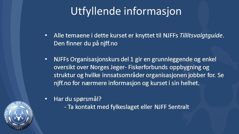 Alle temaene i dette kurset er knyttet til NJFFs Tillitsvalgtguide. Den finner du på njff.no NJFFs Organisasjonskurs del 1 gir en grunnleggende og enk