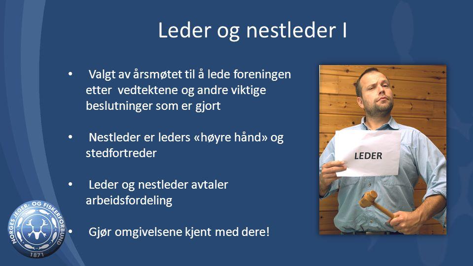 Valgt av årsmøtet til å lede foreningen etter vedtektene og andre viktige beslutninger som er gjort Nestleder er leders «høyre hånd» og stedfortreder