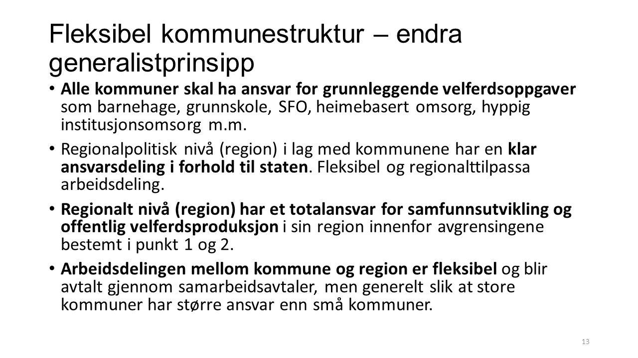 Fleksibel kommunestruktur – endra generalistprinsipp Alle kommuner skal ha ansvar for grunnleggende velferdsoppgaver som barnehage, grunnskole, SFO, h
