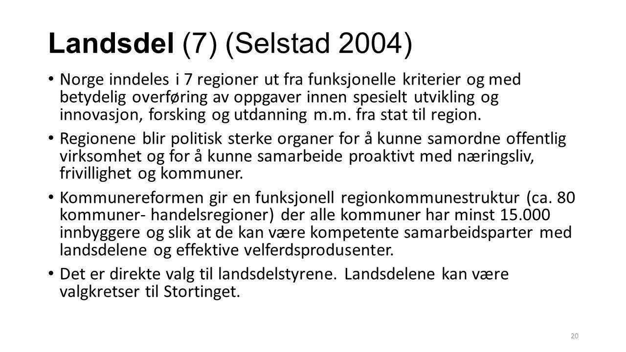 Landsdel (7) (Selstad 2004) Norge inndeles i 7 regioner ut fra funksjonelle kriterier og med betydelig overføring av oppgaver innen spesielt utvikling