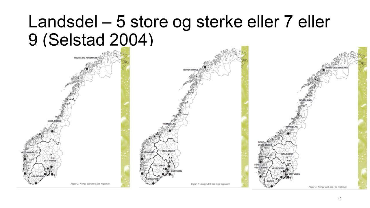 Landsdel – 5 store og sterke eller 7 eller 9 (Selstad 2004) 21